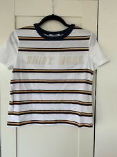 Zara Stripe Pearl Detail T Shirt Top Size Small New With Tags