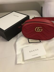 GUCCI Marmont GG Matelasse gold mini small red leather belt Bag 95