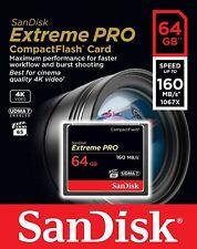 SanDisk Extreme Pro Compact Flash Scheda di Memoria 64 GB, 160 MB/s video 4k