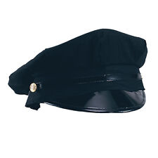 Mens Chauffeur Hat Limo Driver Black Peaked Cap Fancy Dress Costume