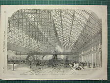 1854 DATED ANTIQUE ILN PRINT ~ NEW GRAND CENTRAL RAILWAY STATION AT BIRMINGHAM