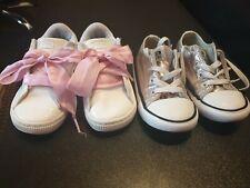 Girls Trainers Bundle Converse Gold Puma basket Ribbon pink Uk 9