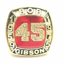1959 1975 Bob Gibson HOF 18k GP Brass Championship Ring & Wood Box