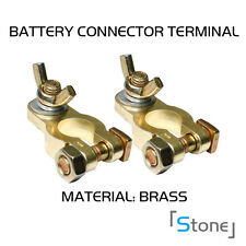 2pc Auto SUV Battery Terminals Positive Negative Clamps Straight Golden Wingnut