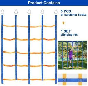 Ninja Climbing Cargo Net Rope Ladder For Kids Outdoor With 5x Carabiner Hooks