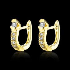 Classic 18k 18ct Yellow Gold Filled GF CZ Hoop Huggie Earrings E-A716 Woman