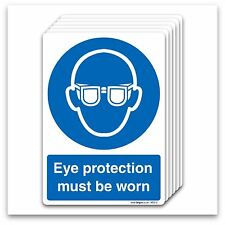 Eye protection must be worn Self-adhesive Vinyl Stickers Mandatory Safety Signs