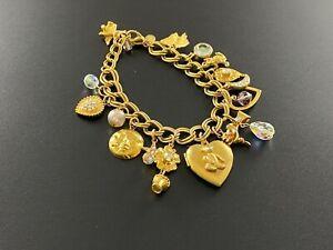 Signed Kirks Folly Celestial Heart Locket Charm Bracelet Gold Tone 16 Charms#323