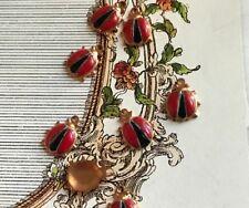 Vintage Lady Bug Charms, Enamel Guilloche Ladybug lady bugs Brass Gold #G3P