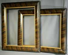 Pair Arts Crafts Empire 16x20 Picture Frame BOLD Painted Faux Wood Grain Antique