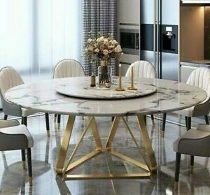 DINING TABLE ROUND FREE LAZY SUSAN MARBLE TOP STAINLESS STEEL BASE LEGS NEW
