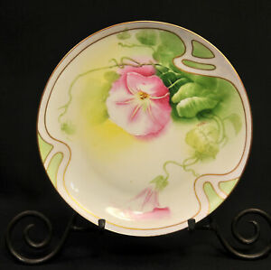 Coronet Limoges Plate Hand Painted by Albert Pink Morning Glory w/Gold 1906-1913