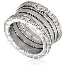 bvlgari bzero1 18k white gold 4band diamond pave ring size 9