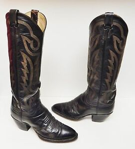 LARRY MAHAN Tall Leather Boots Western Cowboy Distress Black 6.5 N (B) VINTAGE