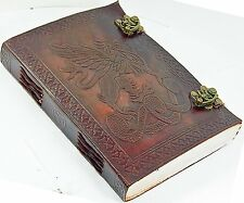leather personal diary dragon vintage brown journal paper notebook