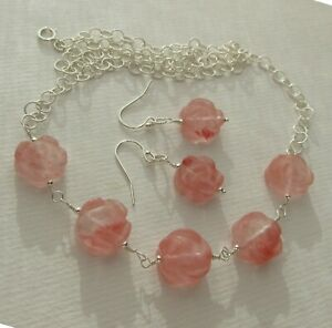 Pink roses Bohemian Glass earrings necklace set 925 Sterling Silver Juan del Rio