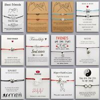 Handmade Rope Charm Bracelet Bangle Friendship Couple Mom Card Jewelry Xmas Gift