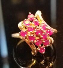 10k Yellow Gold w/ 13 layered Ruby Stones, Lady's Ring Size 6 Very Nice
