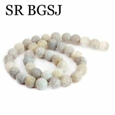 """Natural 10mm Round Gray Frost Agate Gemstone Jewelry Making Beads Strand 15"""""""