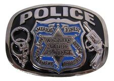 Police America's Finest Law Enforcement We Serve and Protect Belt Buckle