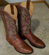 ** Nocona men's two-tone British tan round toe leather cowboy boots 10D**
