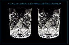 11 oz. Russian Crystal Whiskey Rocks Scotch Glasses, Old Fashioned DOF, SET of 2