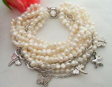 "8""  9Strands White Pearl  Chain Bracelet"