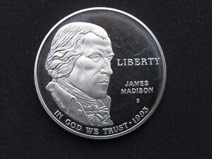 1993 James Madison Proof Commemorative Silver Dollar No COA or Box 90% Silver