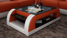 Leather Coffee Table Modern Glass Design Living Room CT9012o