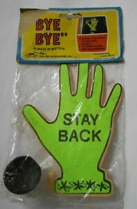 """New Old Stock Vintage Suction Cup Waving Hand """"STAY BACK"""""""