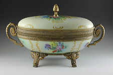 Czechoslovakian Karlovy Vary Hand Painted Brass Mounted Fine Porcelain Oval Box