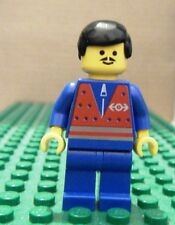 LEGO MINIFGURE – TRAIN – RED VEST & ZIPPER, BLACK HAIR, BLUE LEGS – GENTLY USED