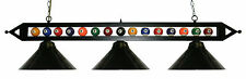 Metal Black 59 Ball Design Pool Table Light Billiard Lamp W Shades White Glass
