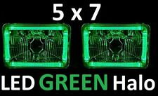 1pr 5x7 6x8 200x142 Semi Sealed H4 Lights Headlights LED Halo Angel Eye GREEN