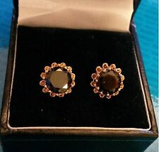 MR Black onyx real yellow gold filled 10mm round stud earrings GiFTBoXeD Plum UK