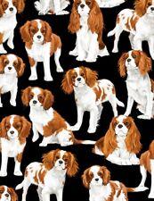 Dog Fabric - Cavalier King Charles Spaniels C7366 - Timeless Treasures Yard