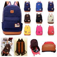 New Women Girl Canvas Backpack Cute Cat Ear Rucksack Travel Shoulder School Bag