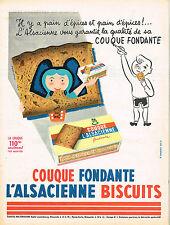 PUBLICITE ADVERTISING 015  1956  L'ALSACIENNE  pain d'épices COUQUE FONDANTE