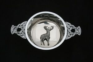 Standing Stag Quaich Scottish Drinking Bowl Pewter Stainless Steel Christening