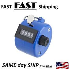 4 Digit Number Manual Hand Handheld Tally BLUE Mechanical Palm Clicker Counter