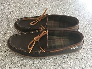 LL Bean Handsewn 212164 Mens Leather Flannel Lined Moccasin Slippers Brown Sz 11