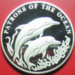 2001 ZAMBIA 4000 KWACHA SILVER PROOF DOLPHINS JUMPING PATRONS OF THE OCEAN RARE!