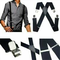 Men's Adjustable Black Leather Elastic Suspenders Leather Braces X-Back Clip-on