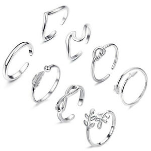 Wholesale 8Pcs/Set Jewelry Silver/Gold/Rose Gold Toe Rings Women Rings Gifts 02