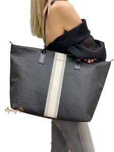 Michael Kors Travel Large Top Zip Tote MK Signature PVC Bag Black