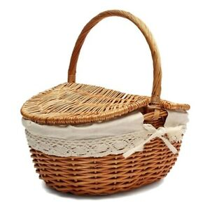 Handmade Wicker Basket with Handle, Wicker Camping Picnic Basket with Double b3e