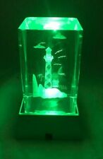 Lighthouse w/ Sailboat Laser Etched Crystal Paperweight w/ Led Display Stand