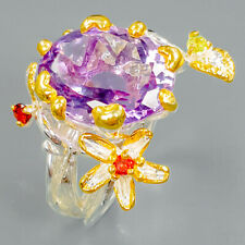 Fine Art12ct+ Natural Amethyst 925 Sterling Silver Ring Size 7.5/R94699