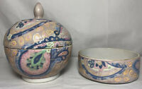 Chinese Porcelain Jar/bowl With Lid And Matching Dish Rare Vintage