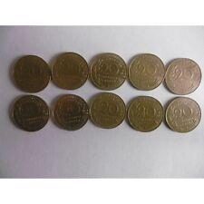 Lot de 10 pieces de 20 Centimes Marianne-1980 à1989